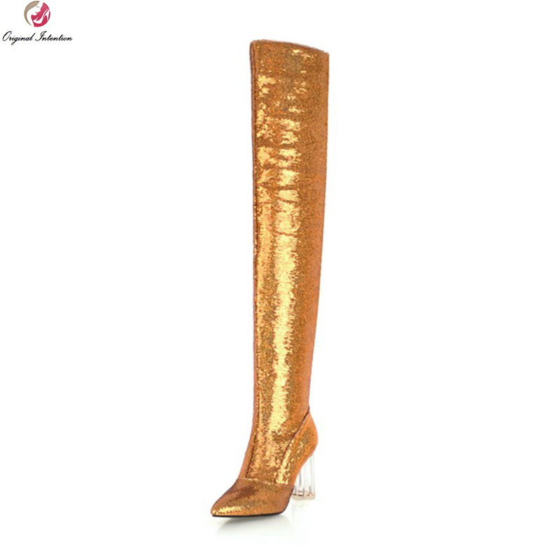 Original Intention Super Sexy Women Thigh High Boots Round Heels Boots Elegant Black Gold Silver Shoes Woman Plus US Size 3-10.5Original Intention Super Sexy Women Thigh High Boots Round Heels Boots Elegant Black Gold Silver Shoes Woman Plus US Size 3-10.5