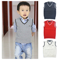 Spring autumn 100% cotton kids clothing baby cardigan boy's V-neck sweater vest kids waistcoat vest girls boys sweaters for 1-7T