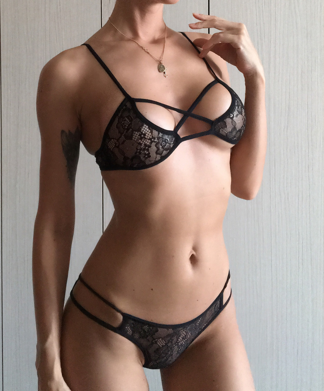 charcoal grey lined with sheer black mesh ethically handmade to order AMY lingerie set soft cup bra and open back low waist knickers