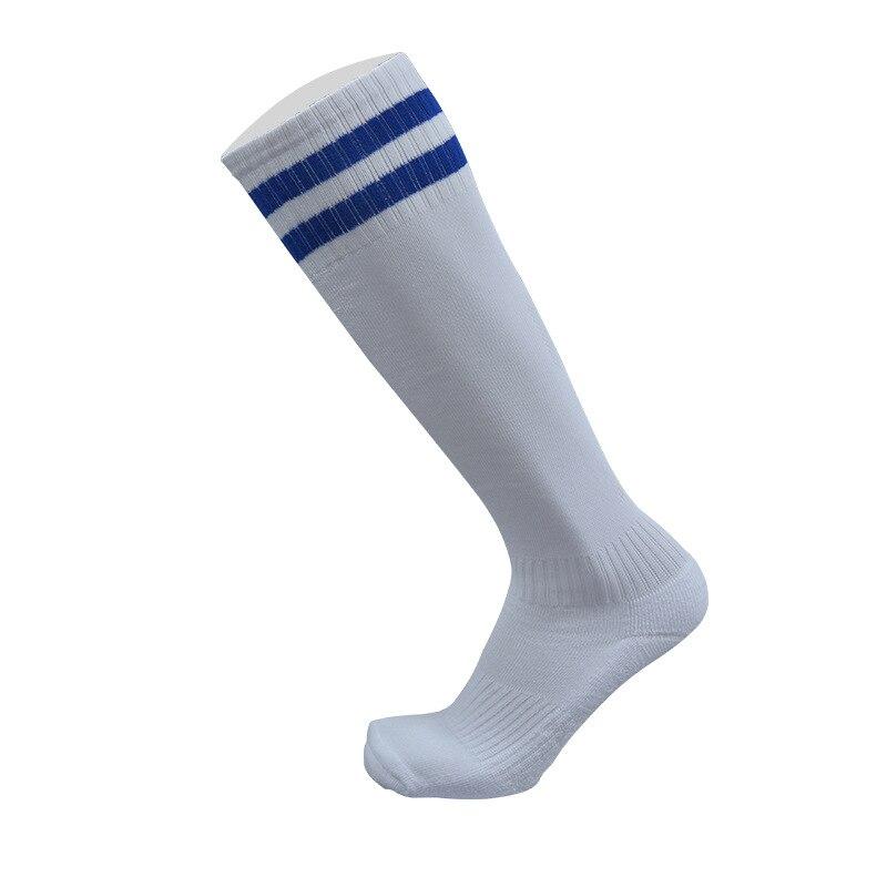 1 пара спортивные носки полиэстер прочный дышащий пота Футбол Бег Велоспорт утолщение открытый спортивные гольфы для Для мужчин мальчиков - Цвет: white and blue