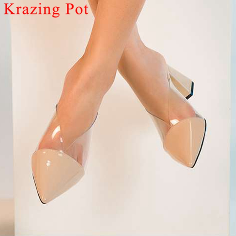 Krazing Pot sweet girls fsahion runway slip on graceful lady thick high heels mules natural leather