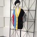 Poncho Limitada Tirón de Poliéster de Algodón de Moda Con Cuello En V Suéter de Las Mujeres 2016 Nueva Mujer Chaqueta de Punto Color de La Raya de Punto Peinado