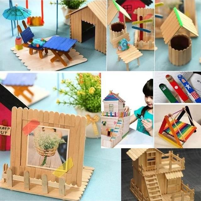 50pcs Popsicle Sticks 114cm Kids Handwork Art Crafts Ice Cream Cake Tools DIY Rainbow Wooden