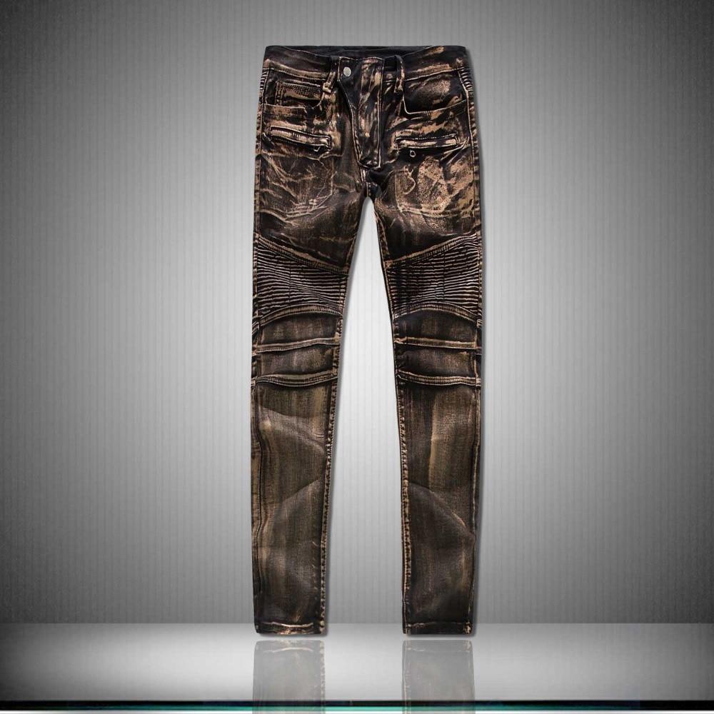 Fashion Brand Casual Slim fit Biker   jeans   Hip hop Denim pants Motorcycle coating Skinny   jeans   men four seasons Denim   jeans   men