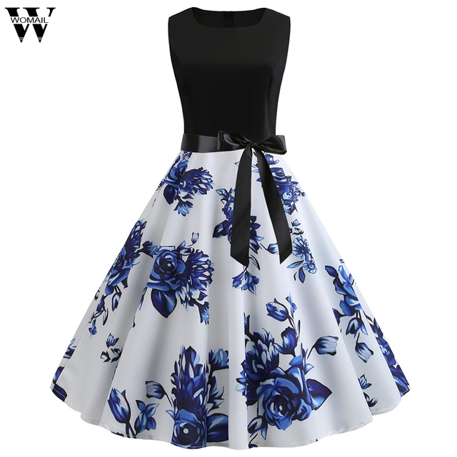 Womail dress Summer Vintage Sleeveless Print O-Neck Dress Evening Party Elegant Dress with Belt Daily fashion  2020  M9 1