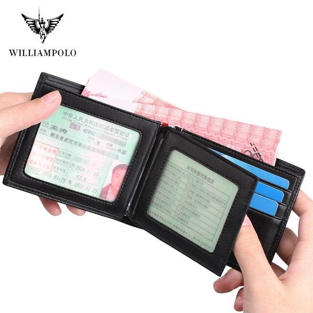 Williampolo carteira masculina de couro legítimo, nova carteira masculina compacta feita em couro legítimo, com dobra central e compartimento para cartões 5