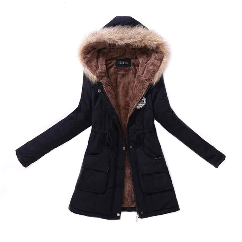 Women Parka Fashion Autumn Winter Warm Jackets Women Fur Collar Coats Long Parkas Hoodies Office Lady Cotton Plus Size 1
