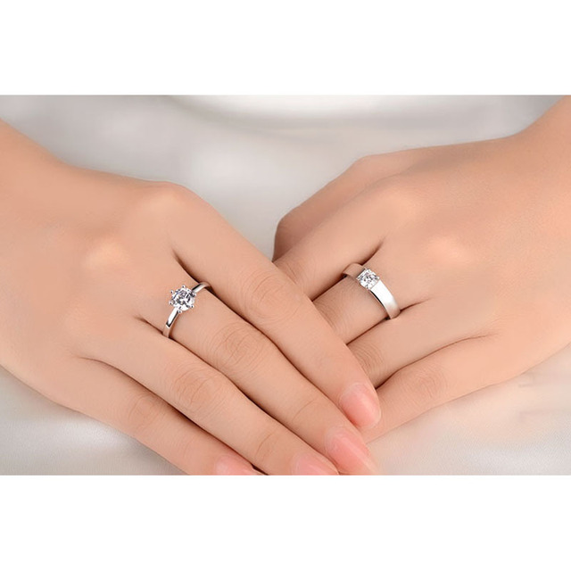 JEMMI Romantic Promise Couple Rings Clear Shiny Crystal Wedding Band Engagement Party Ring Fashion Sterling Silver Jewelry