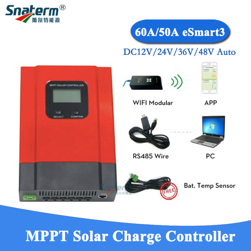 MPPT 40A Solar Charge Controller 12V//24V//36V//48V System WiFi Mobile Monitoring