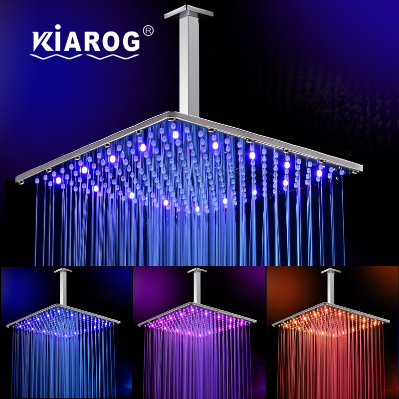 16 Inch Rain Led Shower Head With Ceiling Shower Arm .Bathroom 40cm * 40cm Water Powered3 Colors Led Showerhead.Chuveiro led. 12 inch shower head with arm 300 300 stainless steel head shower with ceiling shower arm top water saving rain shower