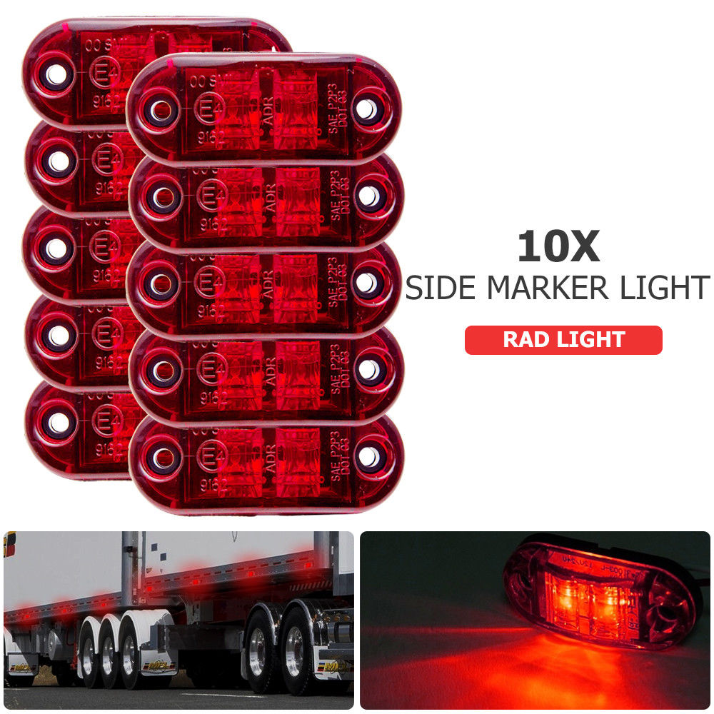 2 x 12//24V RED SIDE MARKER ROOF LIGHTS INDICATORS LORRY TRAILER TRUCK E-MARKED