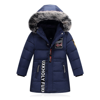 Casual Kids Winter Jackets Teenage Boys Down Coats Fur Collar Hooded Medium-long Warm Children Boys Windproof Parkas Outerwear buenos ninos thick winter children jackets girls boys coats hooded raccoon fur collar kids outerwear duck down padded snowsuit