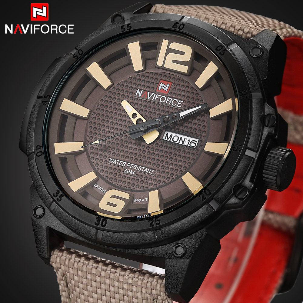 2016 Luxury Brand Military Watch font b Men b font Quartz Analog Clock Leather Canvas Strap