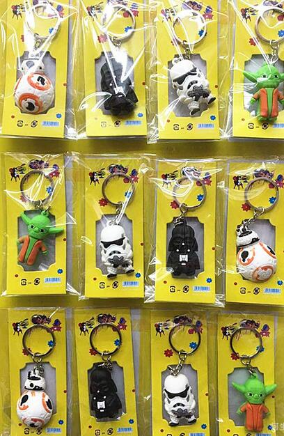 New  5sets (12pcs/set) Star Wars  3D  PVC Key Ring Cartoon  Keychains  Bag Pendant For Best Gift Free Shipping  T-11