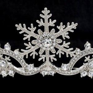 Image 3 - Veri Cristalli Austriaci Donne Principessa Fiocco di Neve Diadema Da Sposa Accessori Dei Monili Dei Capelli di Natale SHA8756