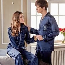 Silk Pajama Sets Female Matte Blue Faux Couple Sleepwear Man Woman Spring New Silky Pyjamas 2-Pieces X9939