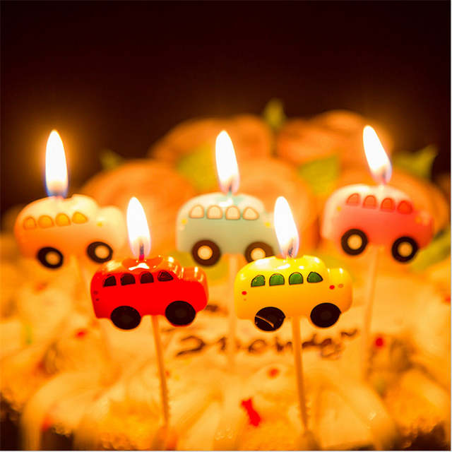 Placeholder 1 Set Cars Creative Cartoon Kids Birthday Cake Cupcake Toppers Candles