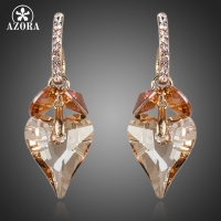 Unique Design 18K Real Gold Plated Heart SWA ELEMENTS Austrian Crystal Drop Earrings FREE SHIPPING Azora