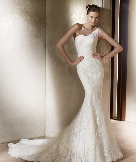 Most Beautiful Short Wedding Dresses: Most Beautiful Mermaid Strapless One Shoulder Lace