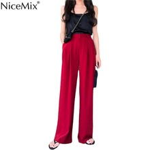 NiceMix 2019 Summer Loose Casual High Waist Trousers Suit Women Black Red Wide Leg Pants Fashion