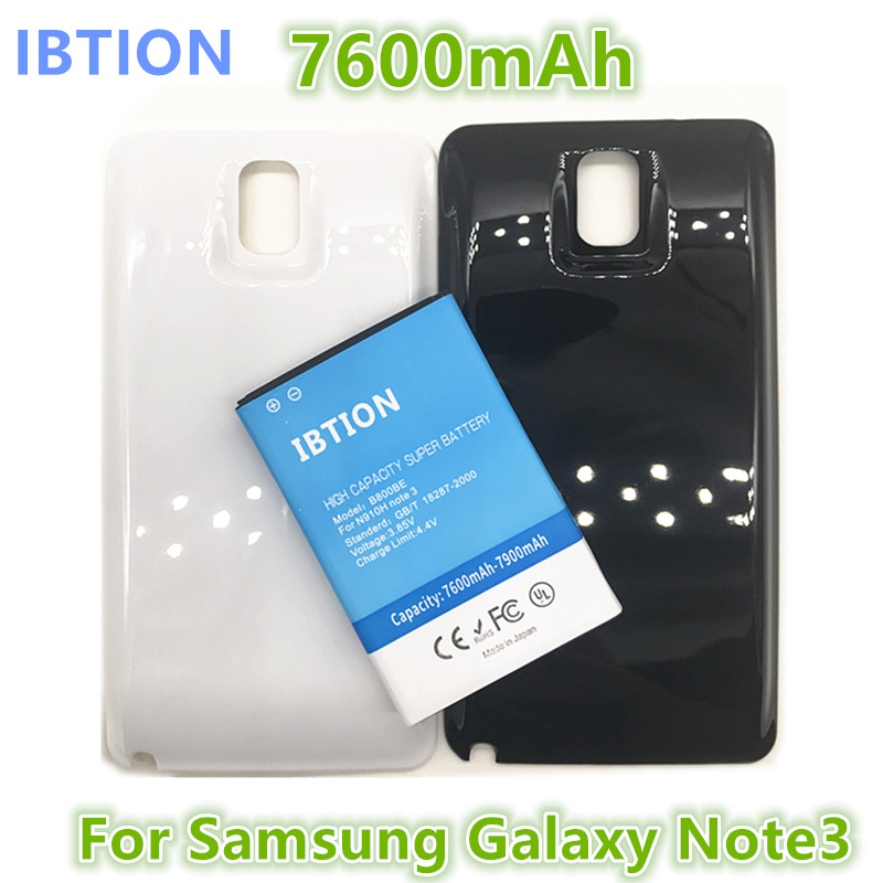 sale retailer a106b d6090 IBTION 7600mAh B800BE Note 3 Business Extend Battery For Samsung Galaxy  Note3 N9000 N9005 + Back Cover Door Black White color