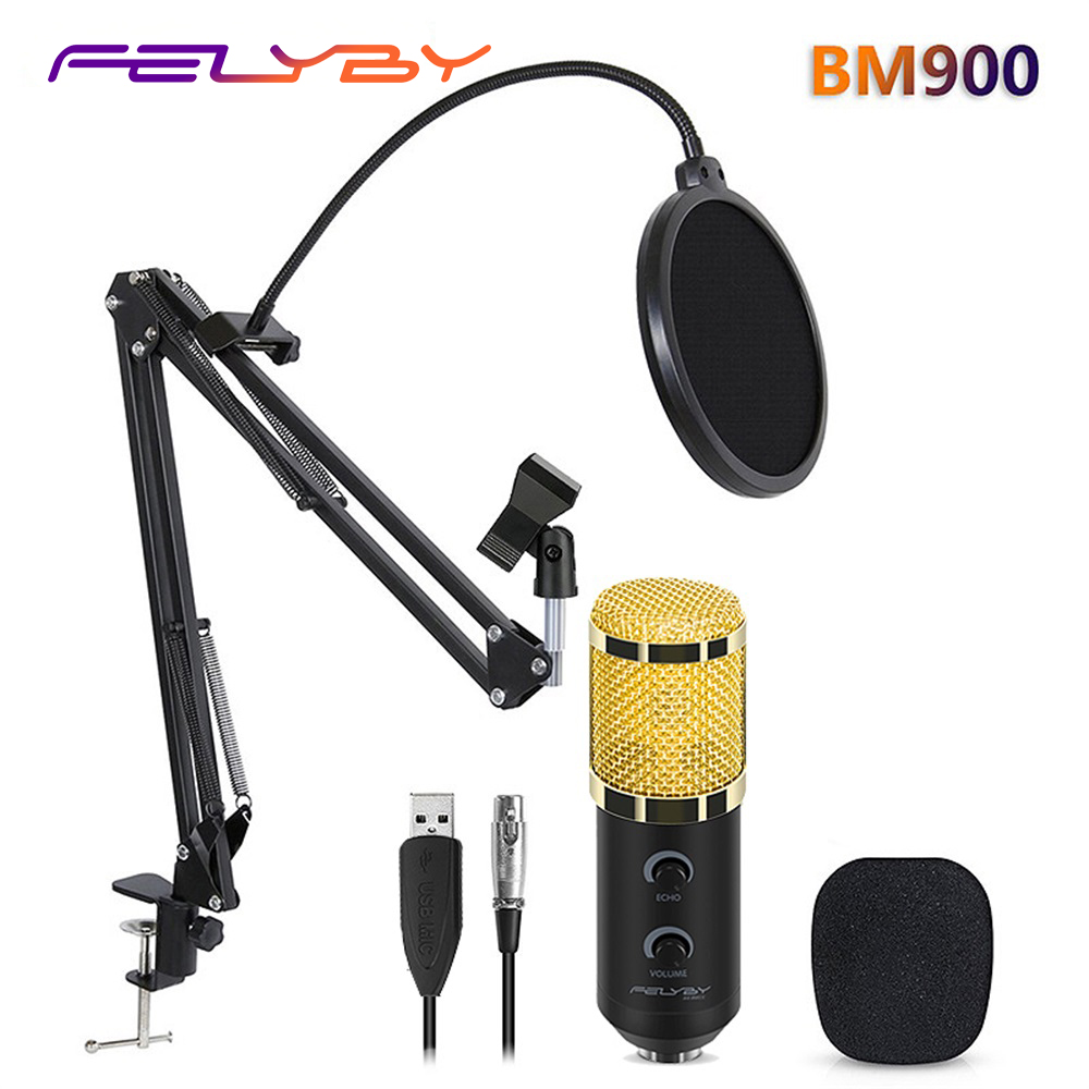 HOT!!! FELYBY bm 800 upgraded bm 900 Professional Studio USB Condenser Microphone for Computer Video Recording Mikrofon