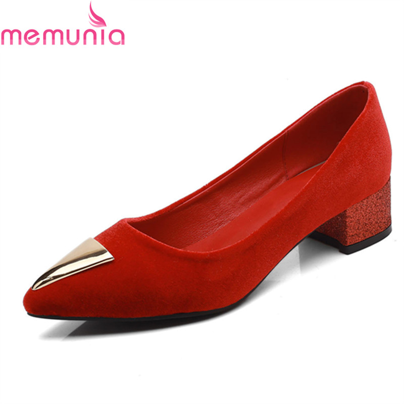 MEMUNIA popular 2018 hot sale low heel pointed toe women shoes high quality slip-on shallow balck red casual shoes memunia 2018 hot sale genuine leather