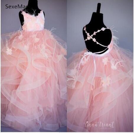 Luxe Rose Fleur Filles Robes pour le Mariage D'enfants Pageant Robe Première Sainte Communion Robes pour Petit Bébé Parti Robe De Bal