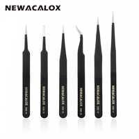 NEWACALOX 6pcs/set ESD Anti-Static Anti-magnetic Non-corrosive Stainless Steel Tweezers Set for Electronics Phone Repairing Tool