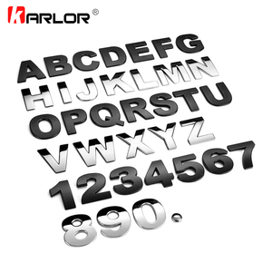 45mm 3D Metal DIY Letters Alphabet Emblem Chrome Car Stickers Digital Badge Automobiles Logo Car Accessories Motorcycle sticker