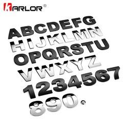 45mm 3D Metall DIY Letters Alphabet Emblem Chrom Auto Aufkleber Digitale Abzeichen Automobile Logo Auto Zubehör Motorrad aufkleber