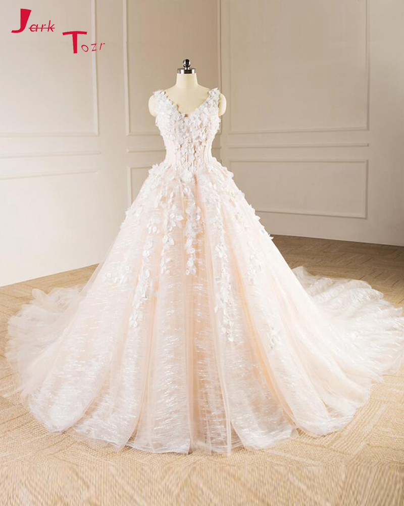 Jark Tozr Robe De Mariage V-neck Hand Made Flowers Bridal Gown Ivory Luxury  A 55d96ed8574e