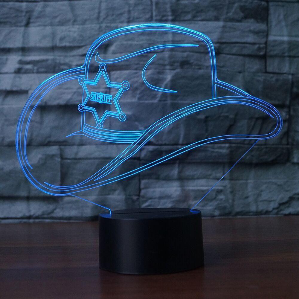 Creative 3D Colorful Led Gradient Cowboy Hat Nightlight Cap Usb Kids Sleep Bedroom Bedside Decor Light Fixtures Desk Table Lamp