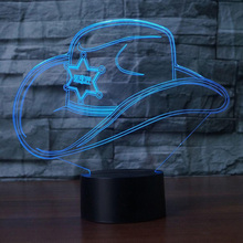 Creative 3D Colorful Led Gradient Cowboy Hat Nightlight Cap Usb Kids Sleep Bedroom Bedside Decor Light Fixtures Desk Table Lamp