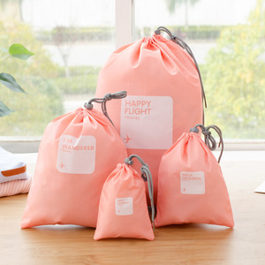 Hot 4 pcs / lot Waterproof Travel Drawstring Bags Travel Shoe Makeup Organizer Laundry Bag Underwear Cosmetics