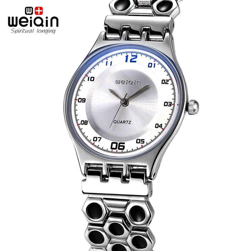 3334c4f620d2 Marca de moda de Lujo WEIQIN Mira a LAS MUJERES de nido de abeja de Acero  Inoxidable Correa de reloj de Cuarzo Dial de reloj Ultra Delgado Reloj  relogio ...