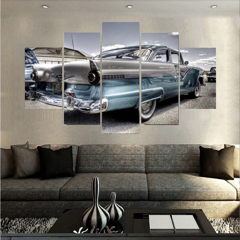 High Quality Sports Car Landscape Paintings Wall Art Home Decoration Unframed Canvas Oil Painting For Living Room Free shipping