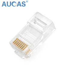 Aucas RJ45 Connector Modular Ethernet Cable Head Plug Cat5E Connector Gold-plated Unshielded Network 8P8C RJ45 Connector rj45 8p8c network modular plug connector red 30 piece pack