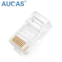 Aucas RJ45 Connector Modular Ethernet Cable Head Plug Cat5E Connector Gold-plated Unshielded Network 8P8C RJ45 Connector стоимость