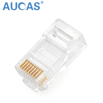Aucas RJ45 Connector Modular Ethernet Cable Head Plug Cat5E Connector Gold-plated Unshielded Network 8P8C RJ45 Connector pure copper gold plated db 25 general head mother head avoid welding head plug 25 needle transfer line terminal connector