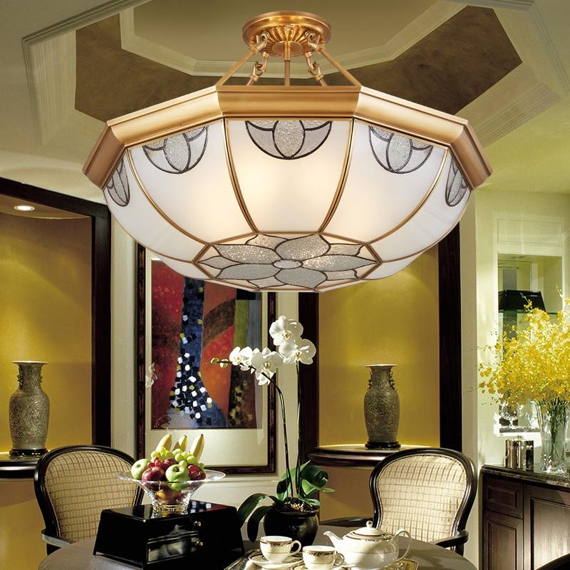 Light Filled Contemporary Living Rooms: European Copper Ceiling Light Modern Living Room Lamp
