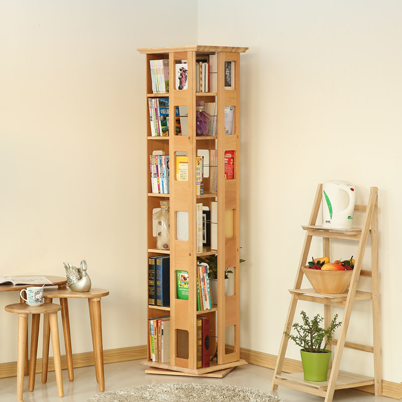 Ems Free Solid Wood Furniture 360 Rotating Bookshelf Creative Bookcase Landing Shelf Cd Rack Newspaper Stand Modern Simple In Bookcases From On