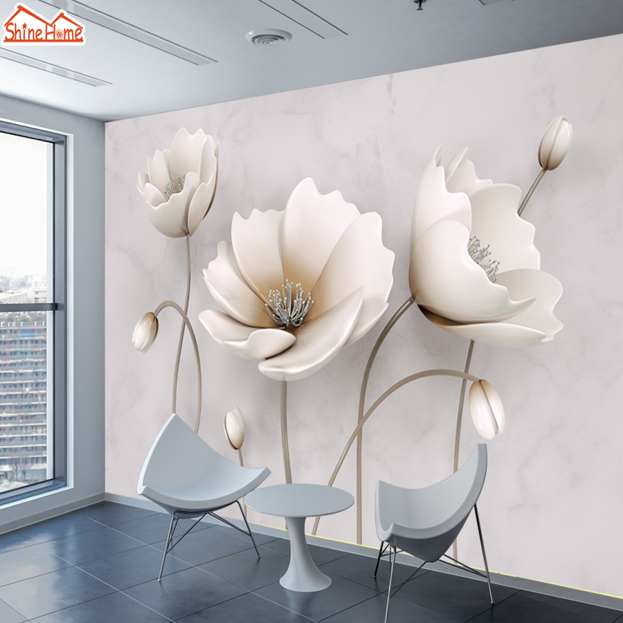 Photo Wallpaper 3d On The Wall Papers Home Decor Marble Pattern Flower Wallpapers For Walls 3 D Living Room Murals Roll Bedroom