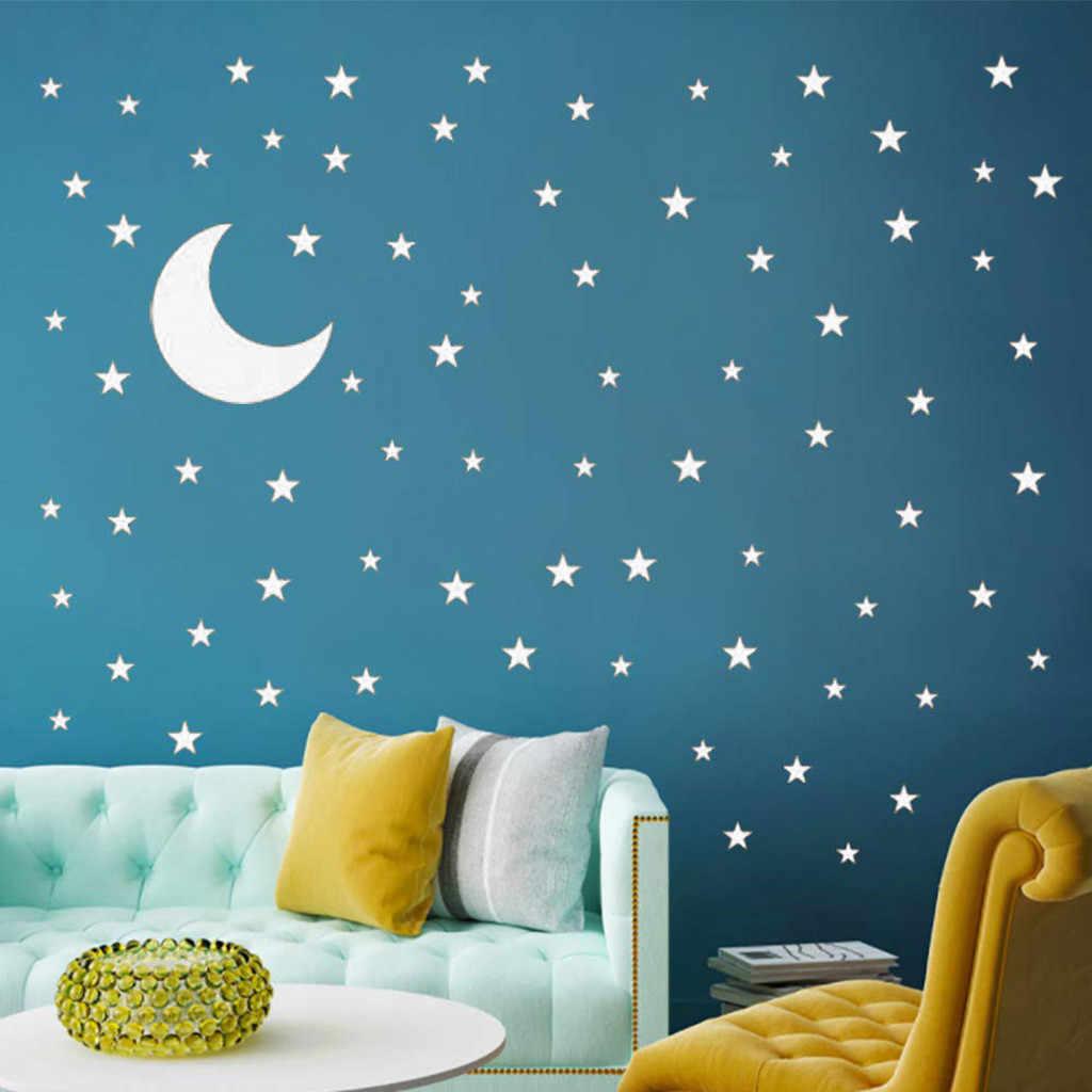 Bulan dan Bintang Stiker Dinding untuk Anak-anak Anak Gadis Bayi Dekorasi Kamar Kreatif Stiker Bagus Dekorasi Rumah Deco Chambre Fille