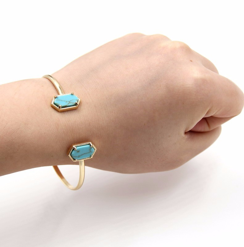 New Cute Oval Quartz Copper Bangles White and Blue green Stone