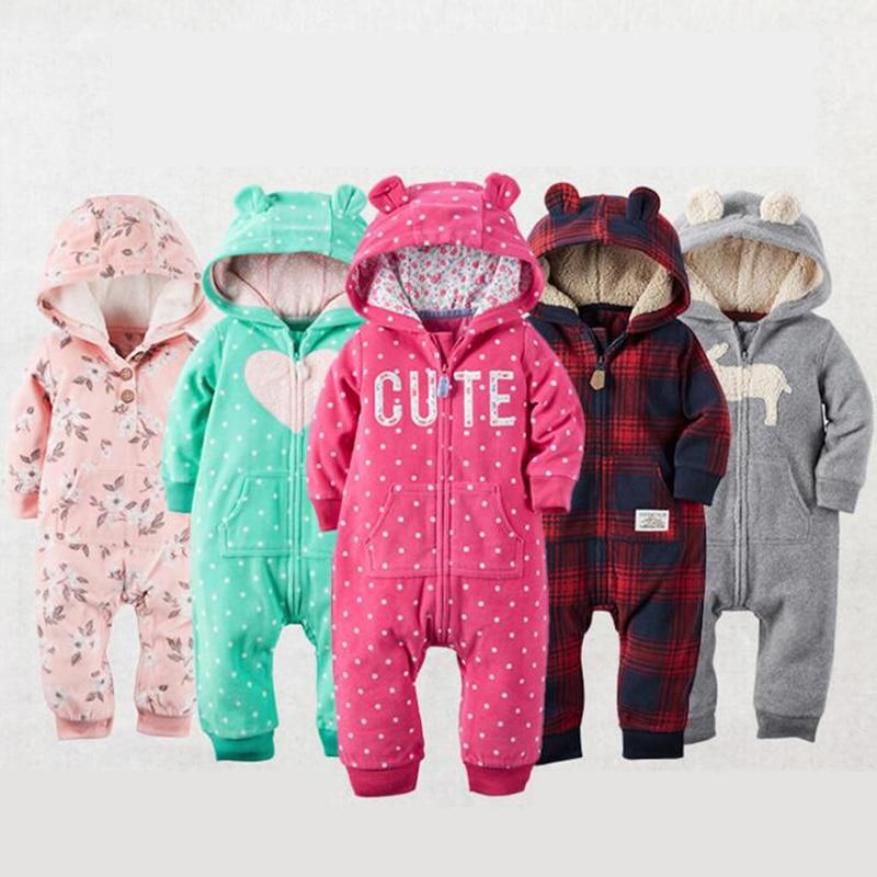 2018 Autumn Winter Warm Baby   Rompers   Fleece baby girls costume Animal Overall baby clothing jumpsuits baby Sleepwear pajamas