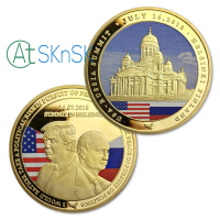 Wholesale 50Pcs 100pcs 2018 Trump Putin Summit in Helsinki Challenge Coin U.S. and Russia Leader Gold Plated Souvenir Coins