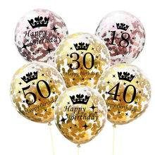 5pc Inflatable Confetti Balloons 12 Inch Latex Clear Birthday Balloons 18 30 40 50 Anniversary Wedding Decoration Party Favors(China)