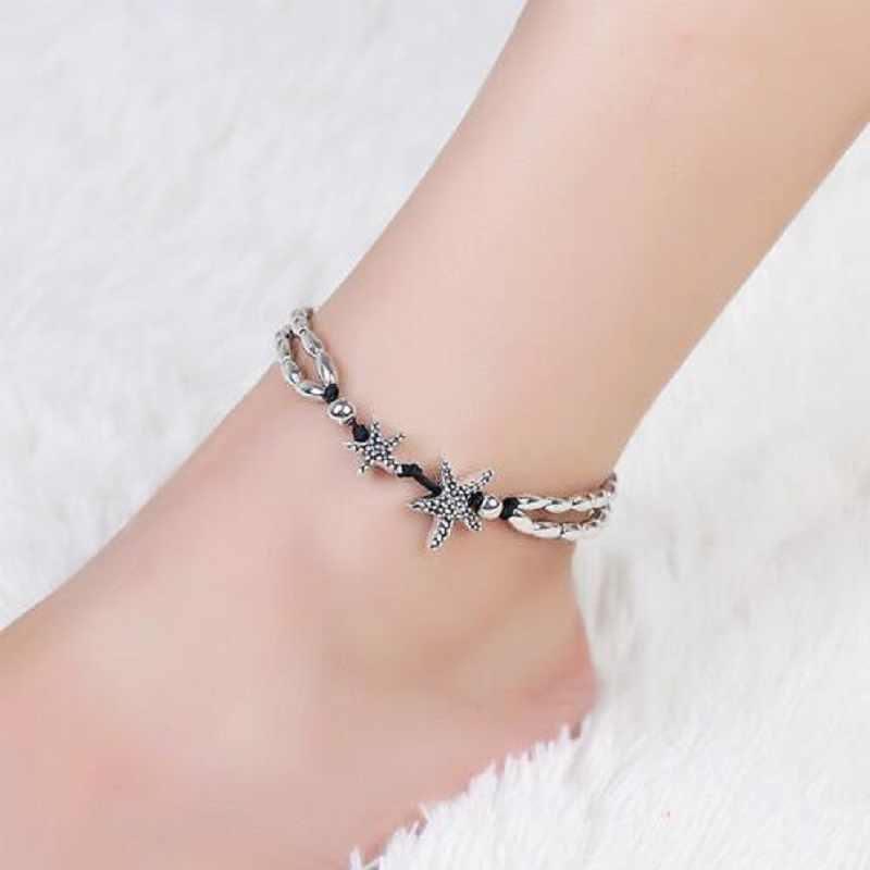 Винтажный браслет бижутерия для ног ретро-браслет на ногу для женщин девушки леггинсы цепочка Шарм Морская звезда бусины браслет модные пляжные украшения