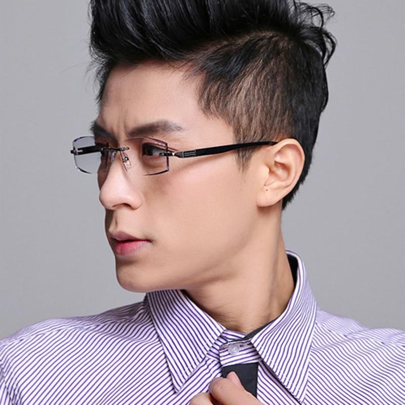 8bff081e67 Brand Eyeglasses Rimless Frame Men Myopia Glasses Male Prescription Eye  Glasses Optical Clear Lenses Colored Reading Glasses 614